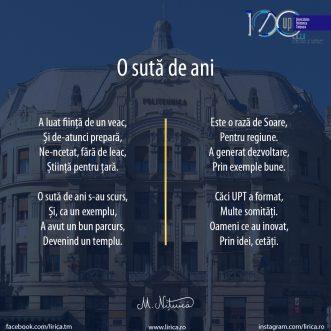 O sută de ani de la înființarea Universității Politehnica Timișoara